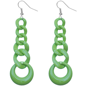 Green Gradual Chain Link Earrings