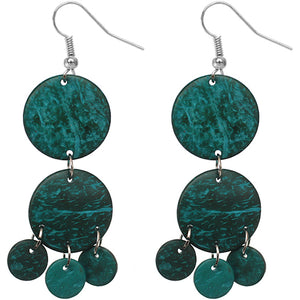Teal Blue Coconut Round Disc Earrings