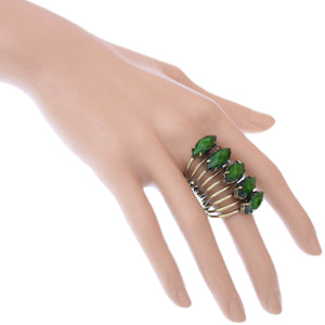 Green Beaded Coil Wrap Ring
