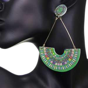 Green Crescent Triangular Shape Post Earrings