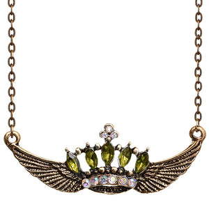 Green Crown Double Wing Chain Necklace