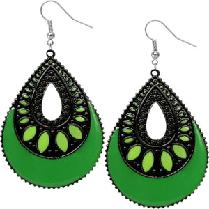 Green Open Teardrop Earrings