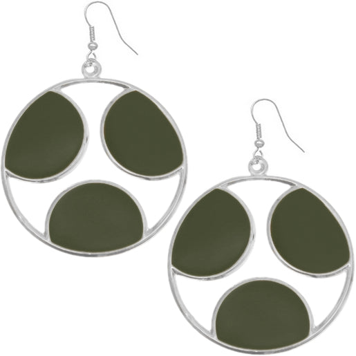 Green Oval Cutout Polka Dot Dangle Earrings
