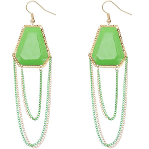 Green Double Chain Geometric Dangle Earrings
