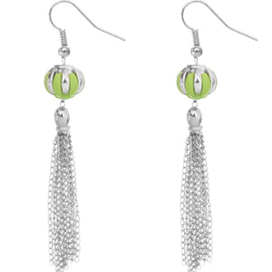 Green Multi Chain Drop Earrings