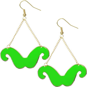 Green Drop Chain Mustache Dangle Earrings