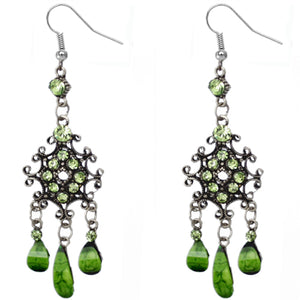 Green Silver Chandelier Gemstone Earrings