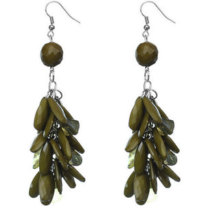 Green Faceted Beaded Oval Dangle Earrings