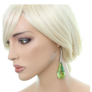 Green Faceted Faux Crystal Drop Earrings