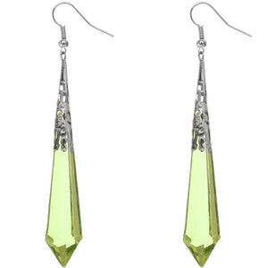 Green Faux Crystal Pointy Earrings