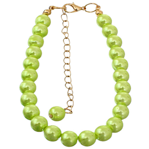 Green Faux Pearl Beaded Bracelet