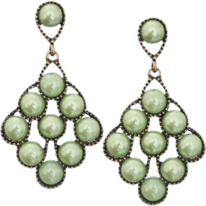 Green Faux Pearl Open Beaded Post Earrings