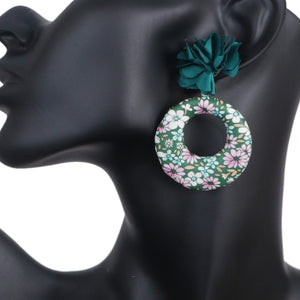 Green Floral Fabric Drop Hoop Earrings