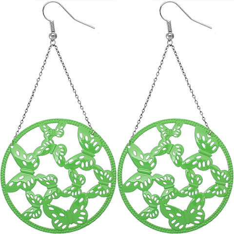 Green Gigantic Butterfly Chain Earrings