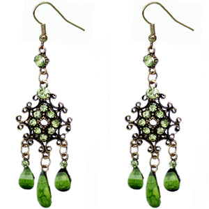 Green Elegant Chandelier Gemstone Earrings