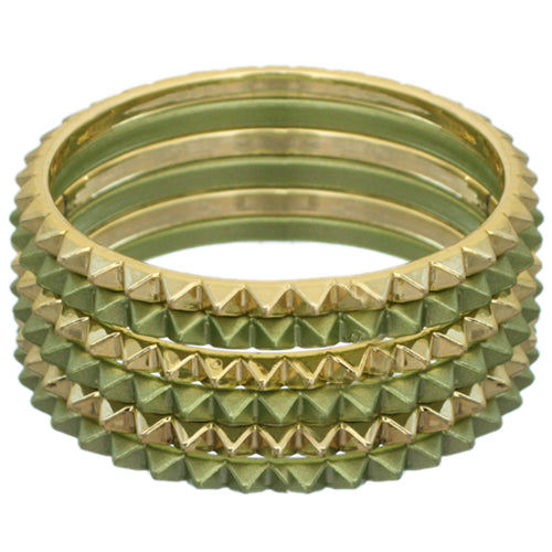 Green Two-Tone Spike Stacked Bracelet