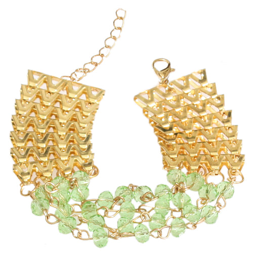 Green Goldtone Beaded Chain Link Bracelet