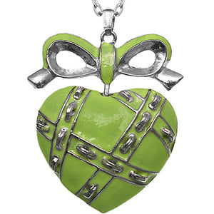 Green Heart Bow Charm Necklace