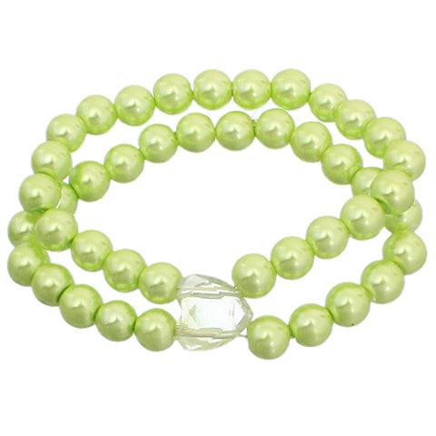 Green Heart Beaded Stretch Bracelet