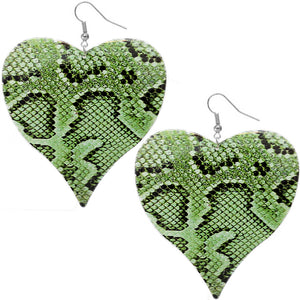 Green Snakeskin Earrings