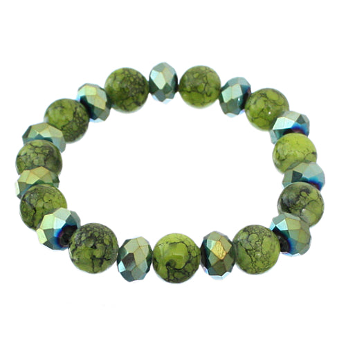 Green Iridescent Beaded Stretch Bracelet Earrings Set
