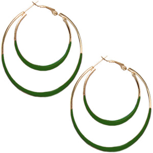 Green Double Layered Hoop Earrings