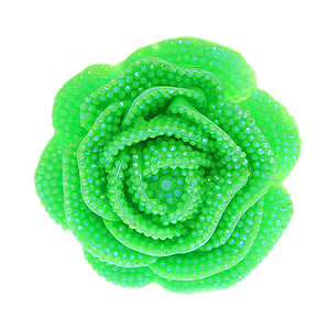 Green Large Glitter Flower Stretch Ring