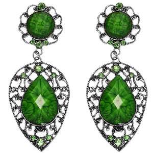 Green Teardrop Gemstone Link Post Earrings