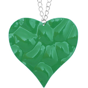 Green Large Hammered Heart Chain Necklace