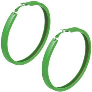 Green Large Metal Hoop Earrings