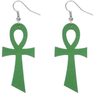 Green Wooden Ankh Earrings