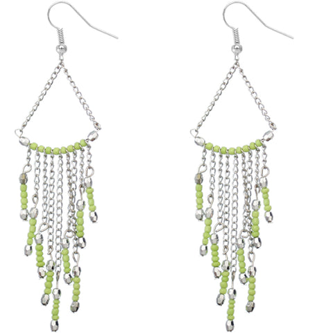 Green Long Beaded Dangle Earrings