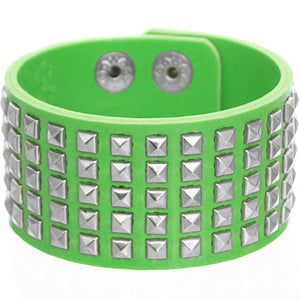 Green Mini Studded Pyramid Snap Bracelet