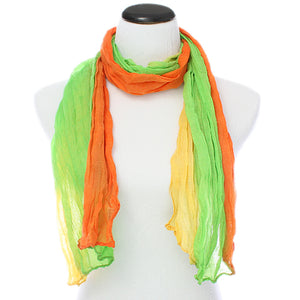 Green Multicolor Lightweight Crinkle Wrap Scarf