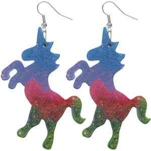 Green Multicolor Wooden Standing Unicorn Earrings