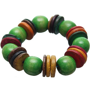 Green Multicolor Wooden Bead Stretch Bracelet