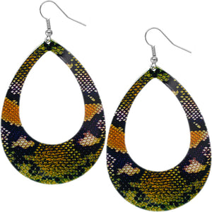 Green Orange Snakeskin Teardrop Earrings