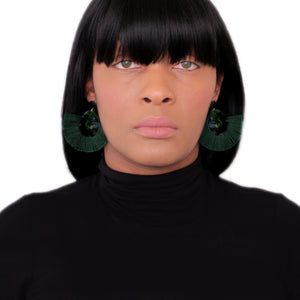 Green Oval Fan Tassel Earrings