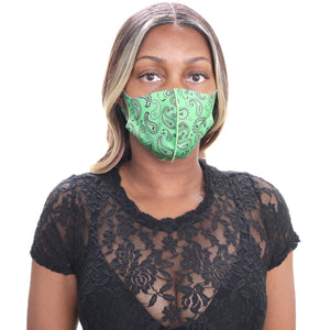 Green Paisley Face Mask