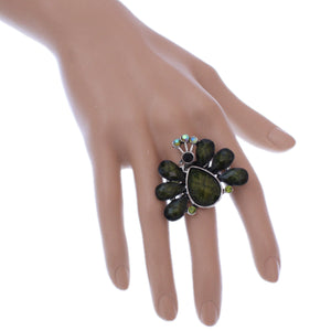 Green Large Beaded Peacock Adjustable Ring