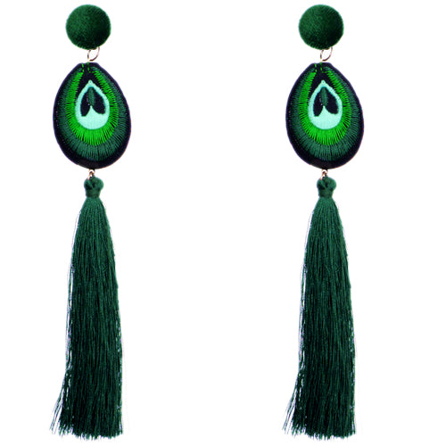 Green Long Peacock Tassel Earrings