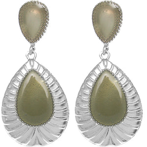 Green Pear Shaped Post Earrings