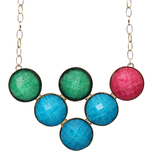 Blue Green Multicolor Beaded Statement Chain Necklace