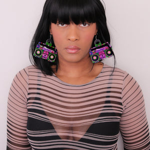 Pink Green Hiphop Radio Boombox Earrings