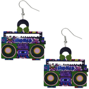 Blue Green Hiphop Radio Boombox Earrings