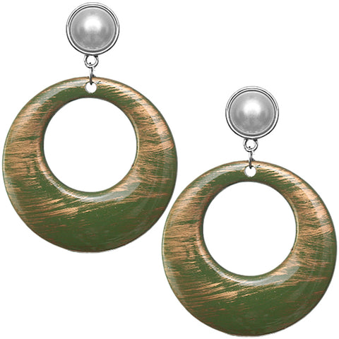 Green Brush Textured Circle Clip-On Earrings