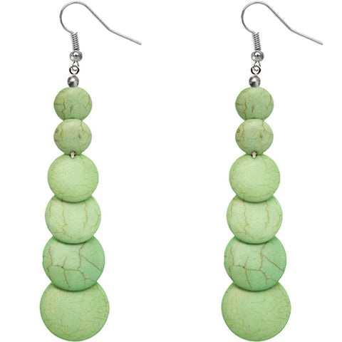 Green Semi Precious Stone Earrings