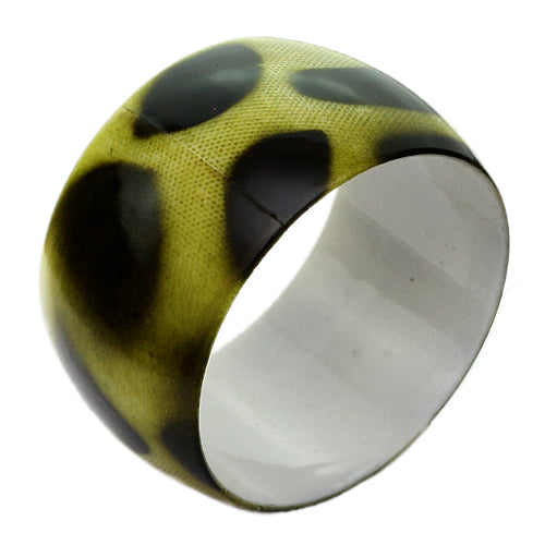 Green Spotted Glossy Bangle Bracelet
