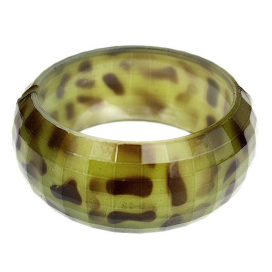 Green Spotted Cheetah Hinged Bracelet