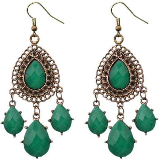 Green Drop Dangle Earrings
